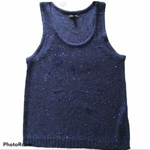 NWT APT. 9 Blue Sequined Knit Tank Top Size Large